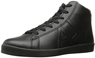 Armani Jeans Men's Leather High Top Fashion Sneaker