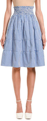 Prada Fantasia Striped Smocked-Waist Tiered Skirt