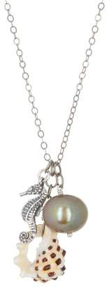 Chan Luu Sterling Silver Shell, Seahorse, & 13-14mm Freshwater Pearl Pendant Necklace