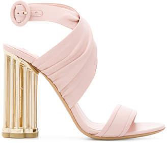 Salvatore Ferragamo flower heel criss-cross sandals