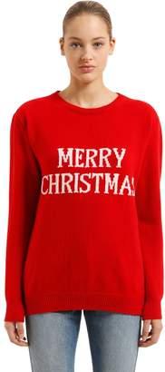 Alberta Ferretti Over Merry Christmas Wool Blend Sweater