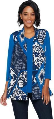 Susan Graver Printed Liquid Knit Vest Set with Back Buttons