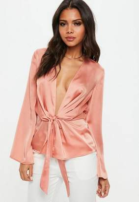 Missguided Pink Satin Drape Plunge Blouse
