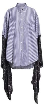 Balenciaga Silk Kimono Sleeve Poplin Shirt