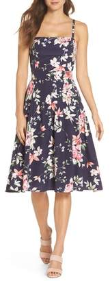 Eliza J Floral Belted Fit & Flare Dress