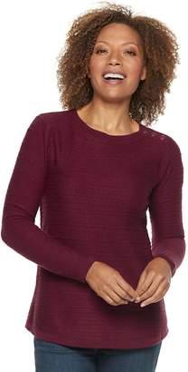 Croft & Barrow Petite Curved Hem Sweater