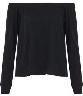Enza Costa Off-the-shoulder Melange Cotton And Cashmere-blend Jersey Top