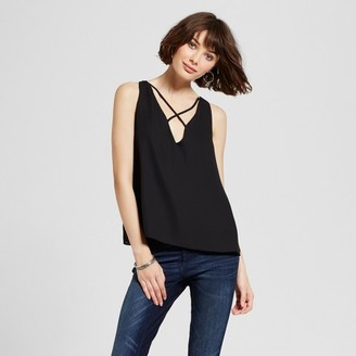Necessary Objects Women's Criss Cross Front Tank Black $37.99 thestylecure.com
