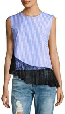 J.W.Anderson Asymmetric Ruffled Stripe Tank Top