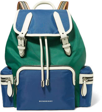 Burberry Leather-trimmed Shell Backpack - Blue