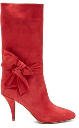 Valentino Bow Embellished Suede Boots - Womens - Red