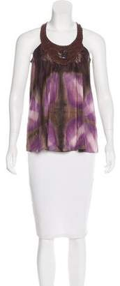 Henry Beguelin Leather-Accented Silk Top