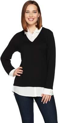 Kelly By Clinton Kelly Kelly by Clinton Kelly Mock-Layer V-Neck Sweater