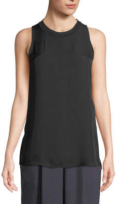 Vince Ribbed-Trim Sleeveless Top