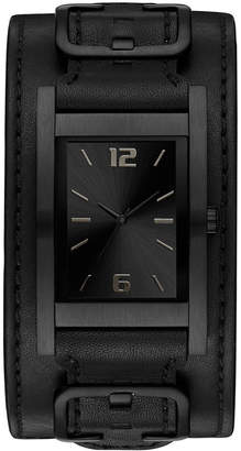 GUESS Men's Black Removable Leather Cuff Watch 31x39mm