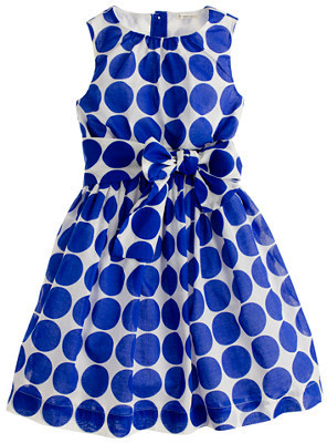 J.Crew Girls' organdy bow dress in polka dot