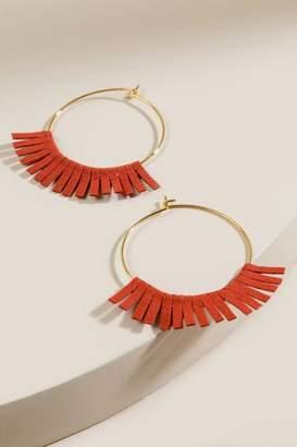 francesca's Kalani Suede Tassel Earrings - Rust