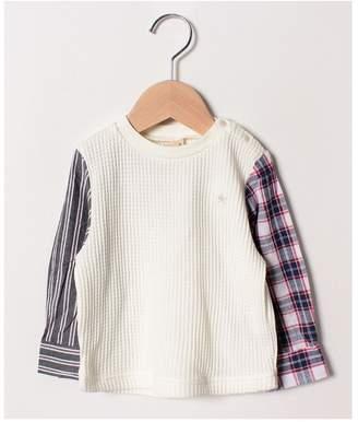 petit main (プティ マイン) - petit main パターン切り替えワッフルTシャツ
