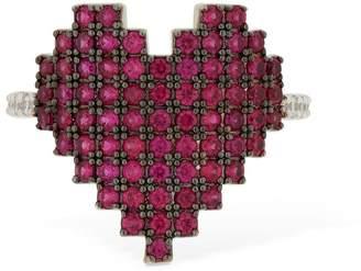 Apm Monaco Silver Pixel Red Heart Ring