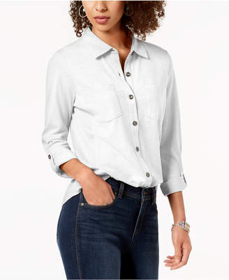 Style&Co. Style & Co Petite Button-Down Roll-Tab Shirt, Created for Macy's