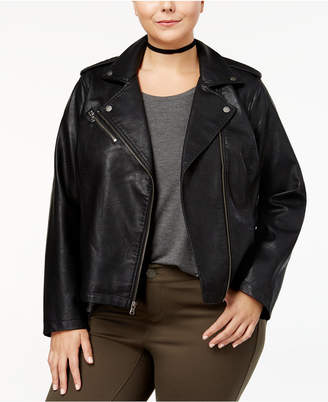 37df7dc9b2f Plus Size Faux Leather Moto Jacket - ShopStyle