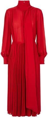 Valentino Pleated Scarf Neck Dress