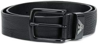 Emporio Armani textured square buckle belt