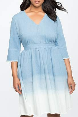 ELOQUII Ombre Hem Dress (Plus Size)
