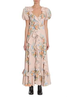 Alexander McQueen Floral Print Ruched Silk Dress