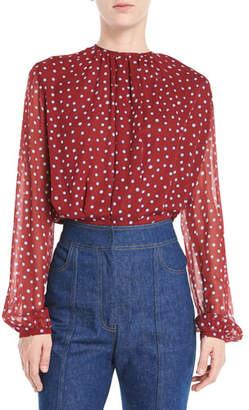 Derek Lam Long-Sleeve Dot-Print Gathered Jewel-Neck Silk Georgette Blouse