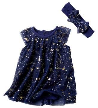Baby Starters Foil Stars Bodysuit Dress & Headband Set (Baby Girls)