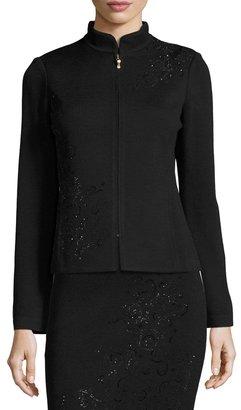 St. John Embellished Santana Knit Jacket, Black $1,039 thestylecure.com