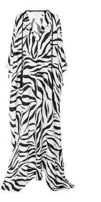 Oscar de la Renta Zebra-Print Silk-Crepe Kaftan