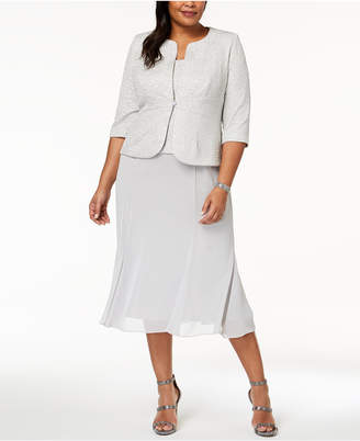 Alex Evenings Plus Size Midi Dress & Embellished Jacket