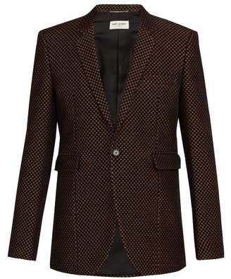 Saint Laurent Textured Jacquard Velvet Blazer - Mens - Black