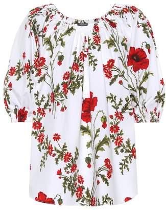 Alexander McQueen Floral-printed cotton top