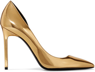 Saint Laurent - Anya D'orsay Metallic Patent-leather Pumps - Gold $895 thestylecure.com