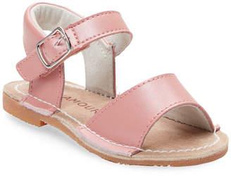 L'amour & Angel Leather Flat Sandal