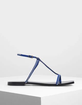 Charles & Keith Embellished T-Bar Sandals