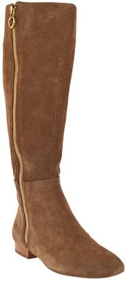 Halston H By H by Suede Tall Shaft Exposed Zipper Boots - Amber