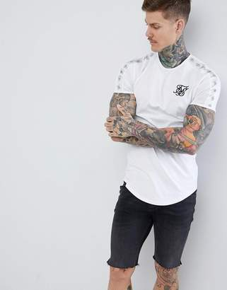 SikSilk curved hem t-shirt in white with side stripe