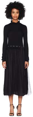 RED Valentino Long Knit Dress w/ Point D'esprit Tulle and Eyelets Detail Women's Dress