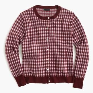 J.Crew Italian featherweight cashmere cardigan sweater in gingham