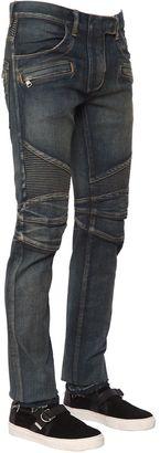 17cm Washed Stretch Cotton Denim Biker $1,324 thestylecure.com