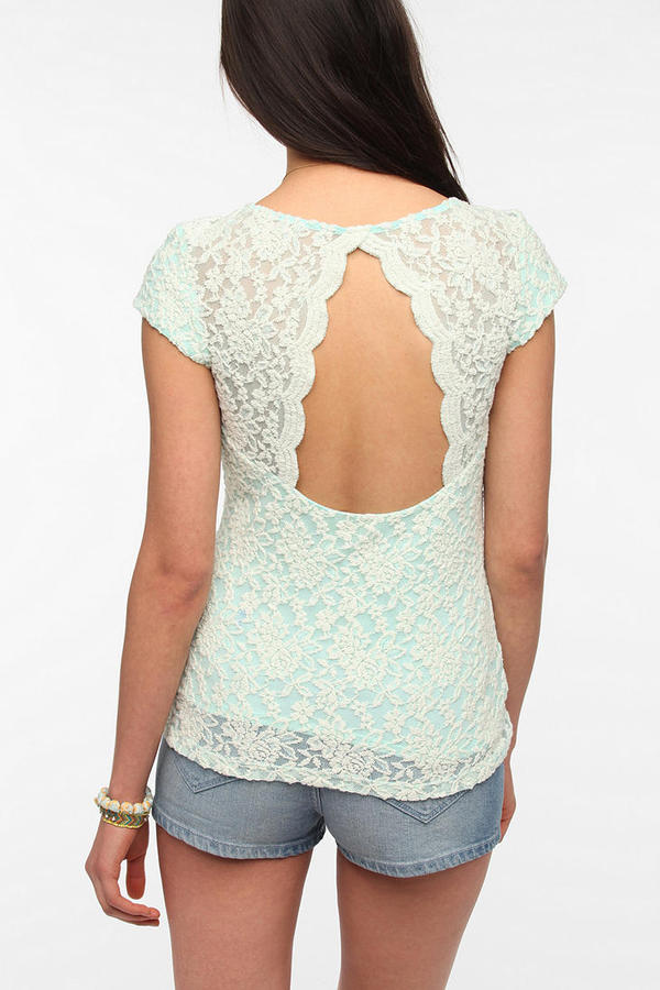 Urban Outfitters Pins And Needles Scallop-Back Lace Tee