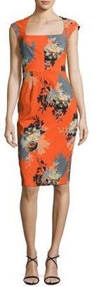 Black Halo Magalie Floral-Print Sheath Dress $375 thestylecure.com