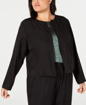 Eileen Fisher Plus Size Tencel Polyester Open-Front Jacket