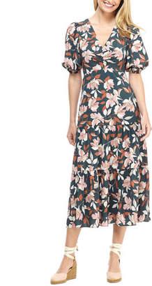 Gal Meets Glam Lily-Print V-Neck Short-Sleeve Midi Dress