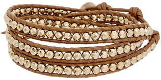 Chan Luu Silver Leather Pyrite Wrap Bracelet