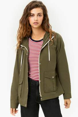 Forever 21 Woven Hooded Zip-Front Jacket